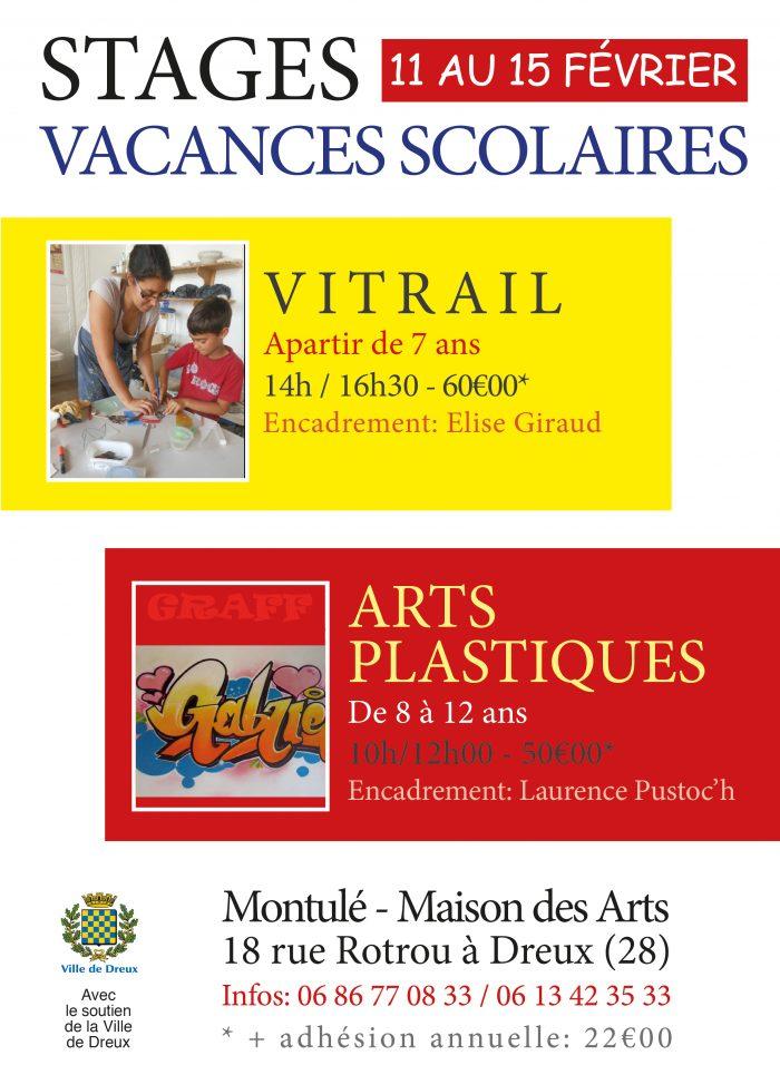 Stages vacances scolaires du 11 au 15 février 2019, vitrail, arts plastiques à montulé-maison des Arts, dreux