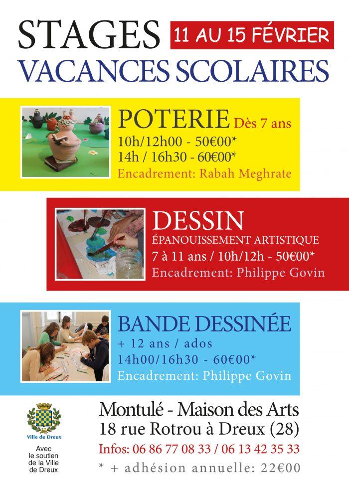 Stages vacances scolaires du 11 au 15 février 2019, poterie, dessin ,bande dessinée à montulé-maison des Arts, dreux